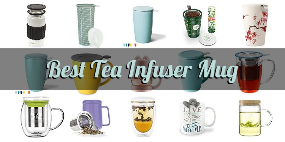 Display of each tea infuser mug we reviewed with title text over it
