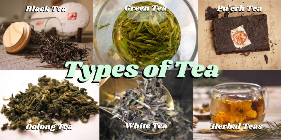 Six paneled image of each type of tea and the title text