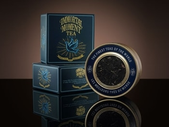 A TWG packaged tea called Immortal Moment sitting on display